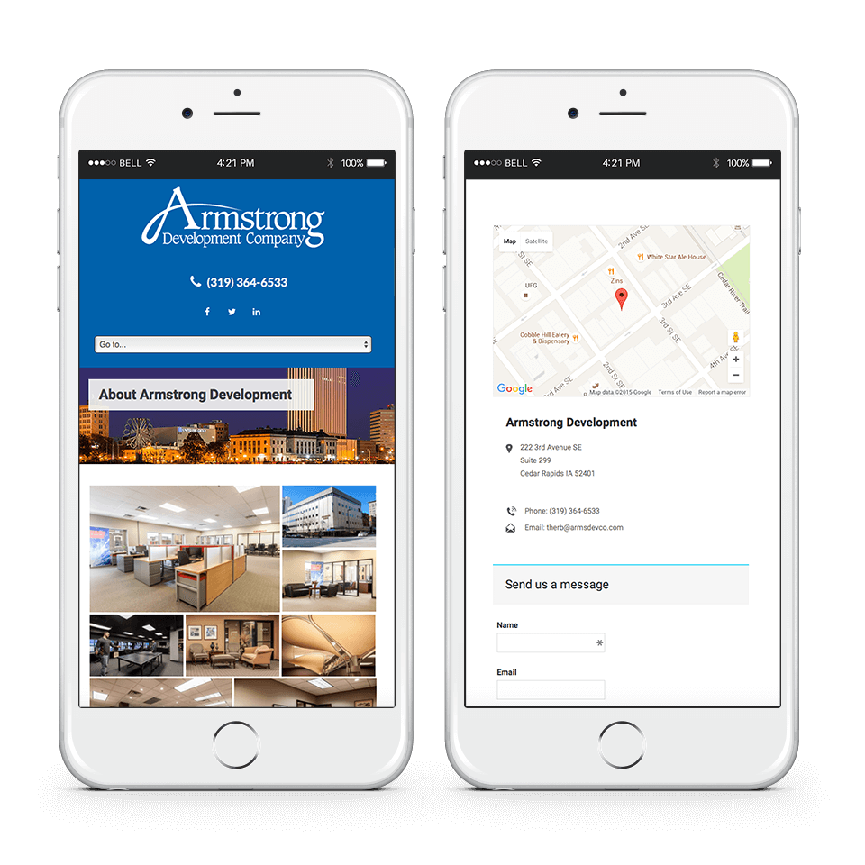 cedar rapids real estate web design on phone