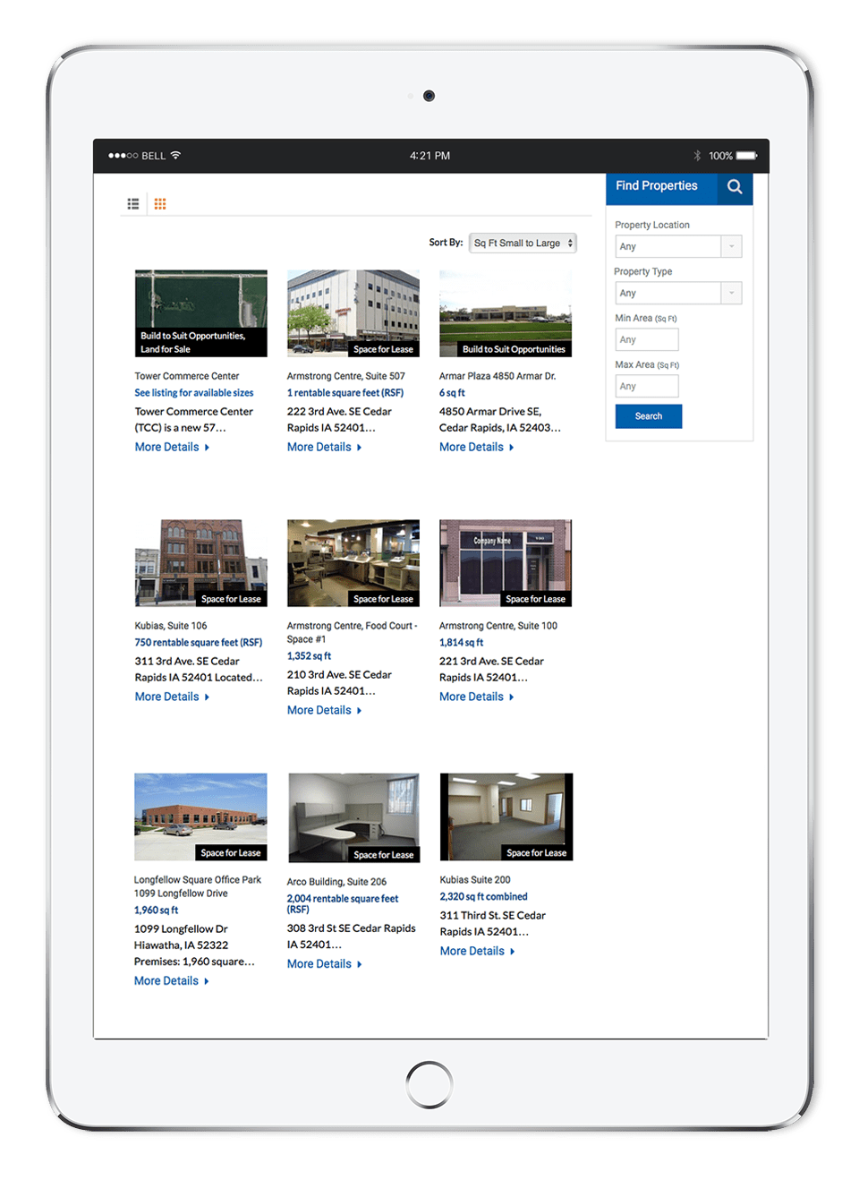 cedar rapids web design for real estate on tablet