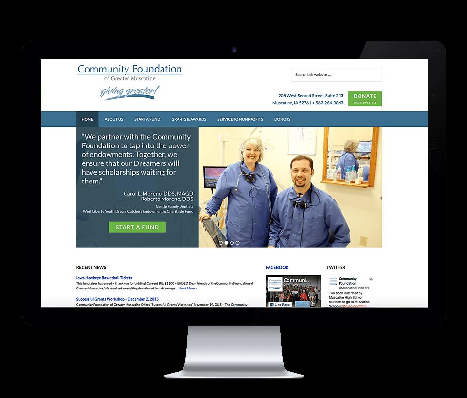 website for muscatine nonprofit on desktop