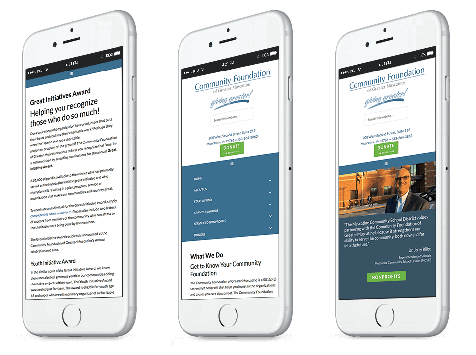 web design for muscatine nonprofit on mobile phone