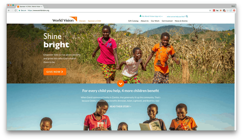 World Vision - Excellent Non-Profit Web Design