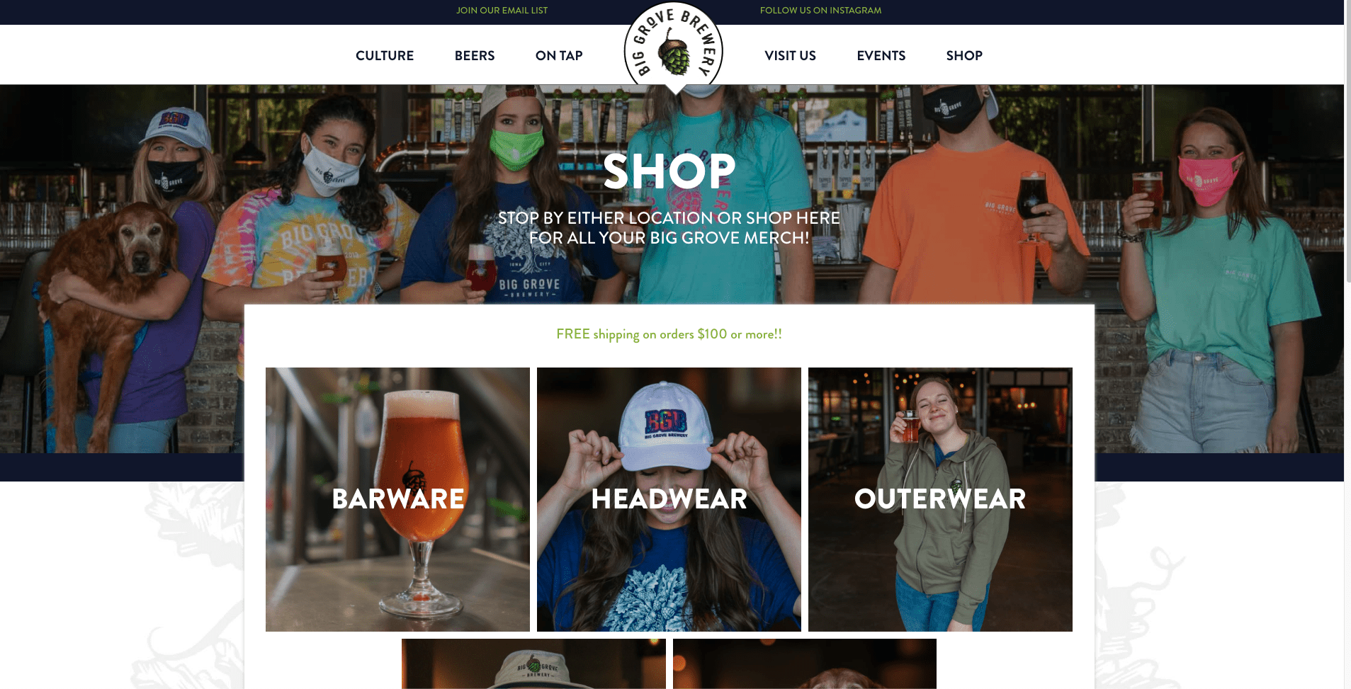 Big Grove Brewery Online Store